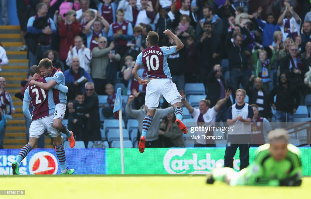 Andreas Weimann of Aston Villa celebrates his second goal during the Barclays Premier League match between Aston Villa and Hull City at Villa Park on May 3, 2014 in Birmingham, England.