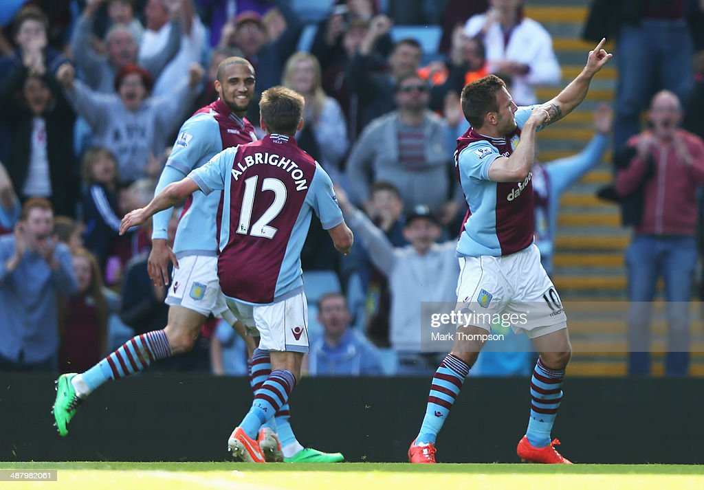 Andreas Weimann (R) of Aston Villa celebrates his second goal during the Barclays Premier League match between Aston Villa and Hull City at Villa Park on May 3, 2014 in Birmingham, England.