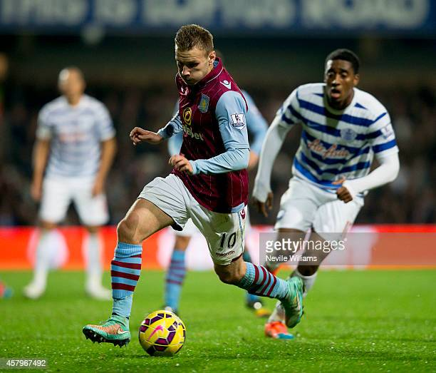 Andreas Weimann of Aston Villa during the Barclays Premier League match between Queens Park Rangers and Aston Villa at Loftus Road on October 27 2014...