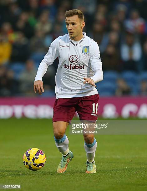 Andreas Weimann of Aston Villa during the Barclays Premier League match between Burnley and Aston Villa at Turf Moor on November 29 2014 in Burnley...