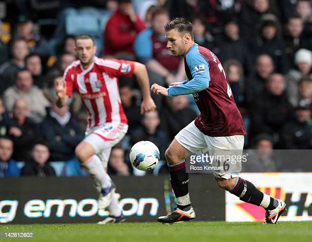 Andreas Weimann of Aston Villa during the Premier League match between Aston Villa and Stoke City at Villa Park on April 9 2012 in Birmingham England