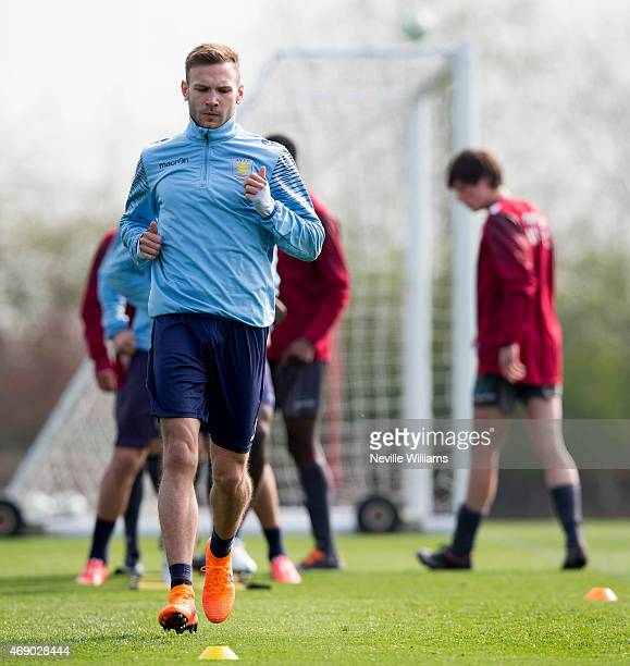 Andreas Weimann of Aston Villa in action during a Aston Villa training session at the club's training ground at Bodymoor Heath on April 09 2015 in...