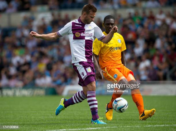 Andreas Weimann of Aston Villa in action during the Pre Season Friendly match between Wycombe Wanderers and Aston Villa at Adams Park on July 20 2013...