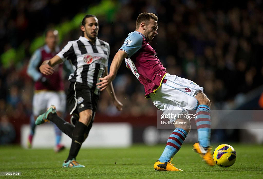 Andreas Weimann of Aston Villa is challenged by Jonas Gutierrez of Newcastle United during the Barclays Premier League match between Aston Villa and Newcastle United at Villa Park on January 29, 2013 in Birmingham, England.