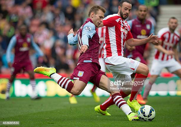 Andreas Weimann of Aston Villa scores for Aston Villa during the Barclays Premier League match between Stoke City and Aston Villa at the Britannia...
