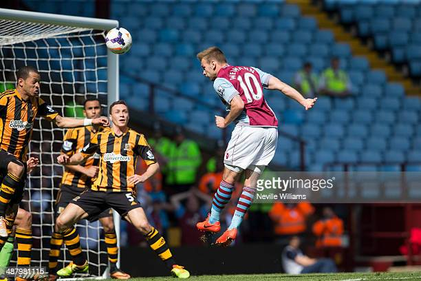 Andreas Weimann of Aston Villa scores his first goal for Aston Villa during the Barclays Premier League match between Aston Villa and Hull City at...