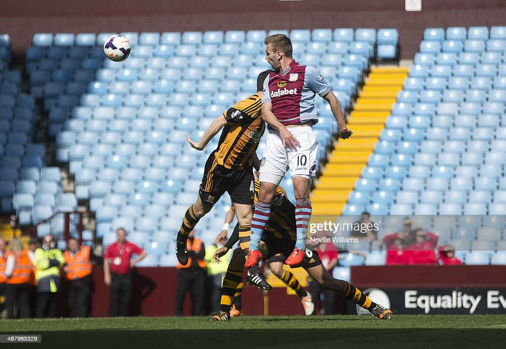Andreas Weimann of Aston Villa scores his second goal for Aston Villa during the Barclays Premier League match between Aston Villa and Hull City at Villa Park on May 03, 2014 in Birmingham, England.