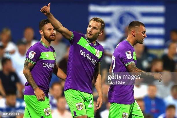 Andreas Weimann of Bristol City celebrates after scoring his sides second goal during the Sky Bet Championship match between Queens Park Rangers and...
