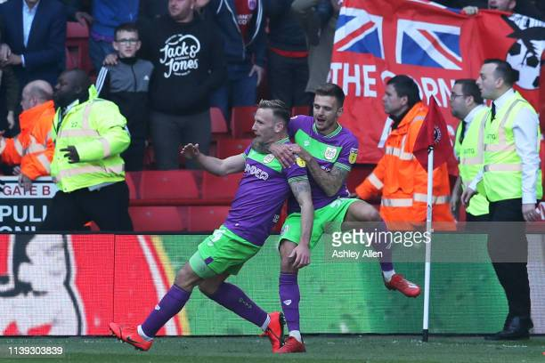 Andreas Weimann of Bristol City celebrates scoring during the Sky Bet Championship match between Sheffield United and Bristol City at Bramall Lane on...