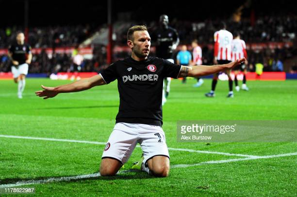 Andreas Weimann of Bristol City celebrates scoring his team's first goal during the Sky Bet Championship match between Brentford and Bristol City at...