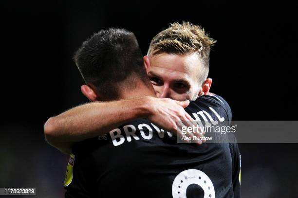 Andreas Weimann of Bristol City celebrates with teammate Josh Brownhill after scoring his team's first goal during the Sky Bet Championship match...