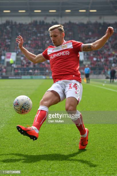Andreas Weimann of Bristol City in action during the Sky Bet Championship match between Bristol City and Reading at Ashton Gate on April 19 2019 in...