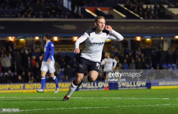 Andreas Weimann of Derby County celebrates after scoring during the Sky Bet Championship match between Birmingham City and Derby County at St Andrews...