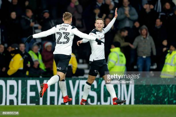 Andreas Weimann of Derby County celebrates scoring the opening goal during the Sky Bet Championship match between Derby County and Aston Villa at...