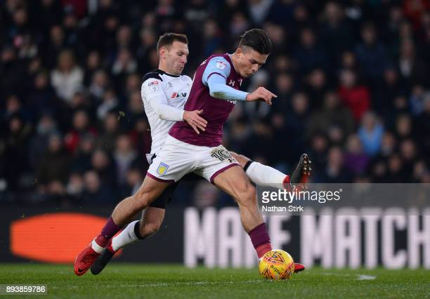 Andreas Weimann of Derby County fouls Jack Grealish of Aston Villa during the Sky Bet Championship match between Derby County and Aston Villa at iPro...