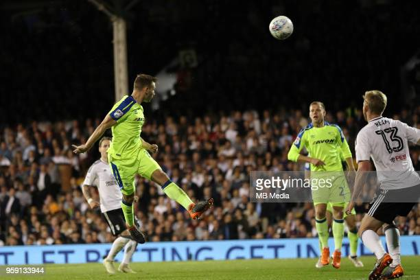 Andreas Weimann of Derby County gets in a header during the Sky Bet Championship Play Off Semi Final Second Leg on May 14 2018 at Craven Cottage in...