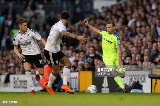 Andreas Weimann of Derby County goes on the attack during the Sky Bet Championship Play Off Semi Final Second Leg on May 14 2018 at Craven Cottage in...