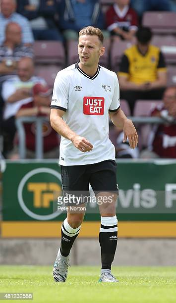 Andreas Weimann of Derby County in action during the PreSeason Friendly match between Northampton Town and Derby County at Sixfields Stadium on July...