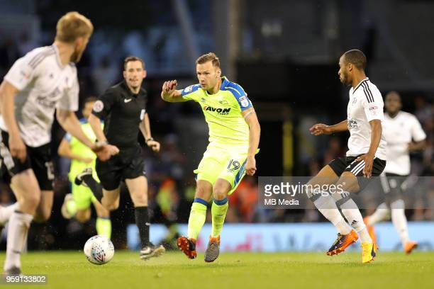 Andreas Weimann of Derby County plays the ball forward during the Sky Bet Championship Play Off Semi Final Second Leg on May 14 2018 at Craven...