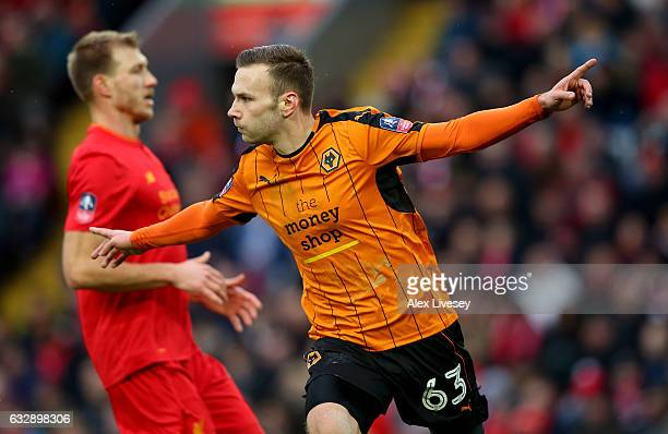 Andreas Weimann of Wolverhampton Wanderers celebrates after scoring his sides second goal during the Emirates FA Cup Fourth Round match between...