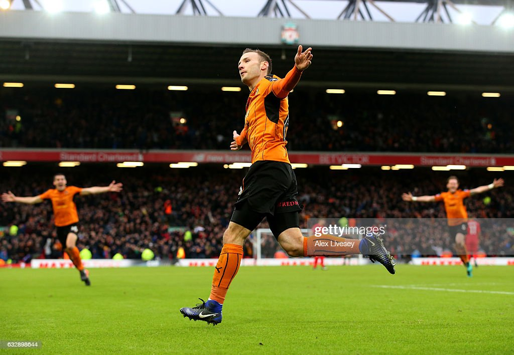 Andreas Weimann of Wolverhampton Wanderers celebrates after scoring his sides second goal during the Emirates FA Cup Fourth Round match between Liverpool and Wolverhampton Wanderers at Anfield on January 28, 2017 in Liverpool, England.