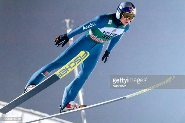 Andreas Wellinger competes during FIS Ski Jumping World Cup Large Hill Individual Qualification at Lahti Ski Games in Lahti Finland on 8 February 2019