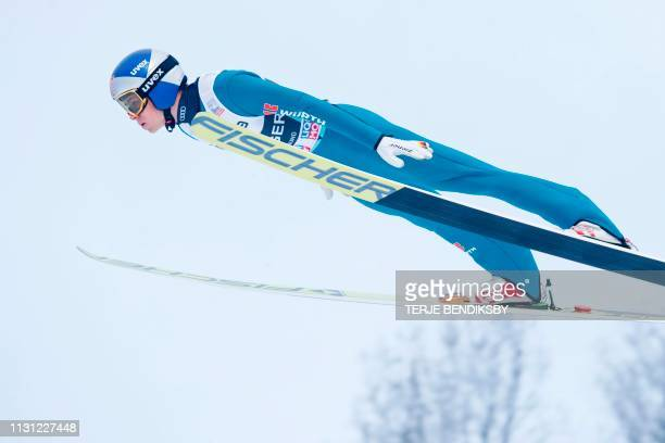 Andreas Wellinger from Germany competes in the men's individual event at the FIS World Cup Ski Jumping in Vikersund on March 17 2019 / Norway OUT