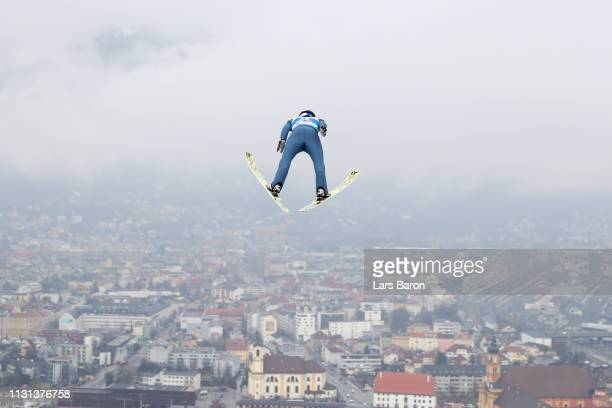 Andreas Wellinger of Austria jumps during the trial round of the HS130 men's ski jumping Competition of the FIS Nordic World Ski Championships at...
