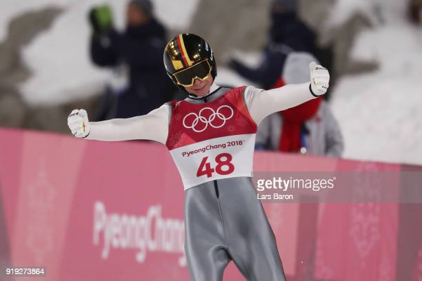 Andreas Wellinger of Germany celebrates after he makes a jump during the Ski Jumping Men's Large Hill on day eight of the PyeongChang 2018 Winter...