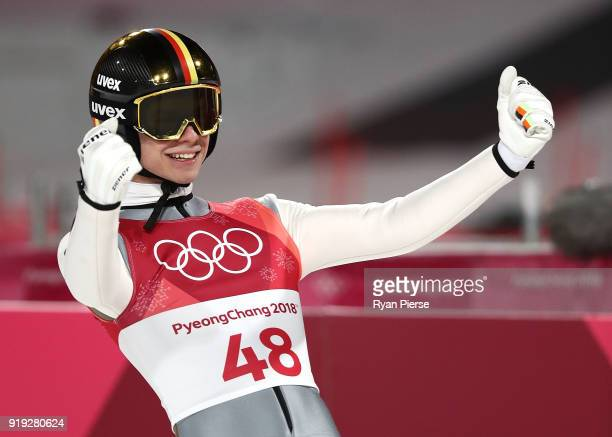 Andreas Wellinger of Germany celebrates after his jump during the Ski Jumping Men's Large Hill on day eight of the PyeongChang 2018 Winter Olympic...