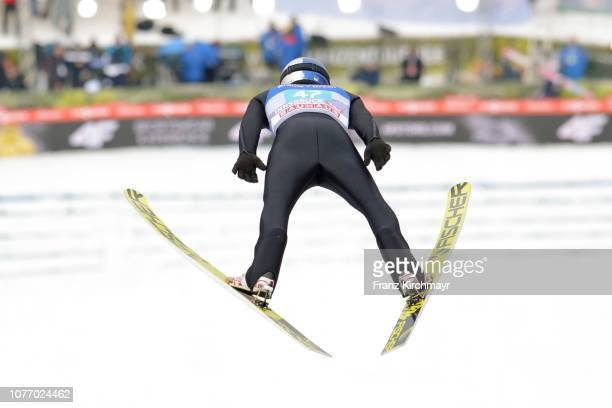 Andreas Wellinger of Germany competes during the 67th FIS Nordic World Cup Four Hills Tournament ski jumping event at Bergisl Schanze on January 4...