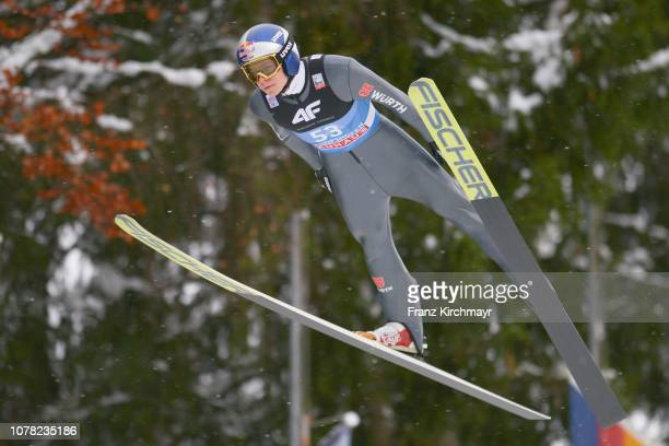 Andreas Wellinger of Germany competes during the 67th FIS Nordic World Cup Four Hills Tournament ski jumping event at PaulAußerleitnerSchanze on...