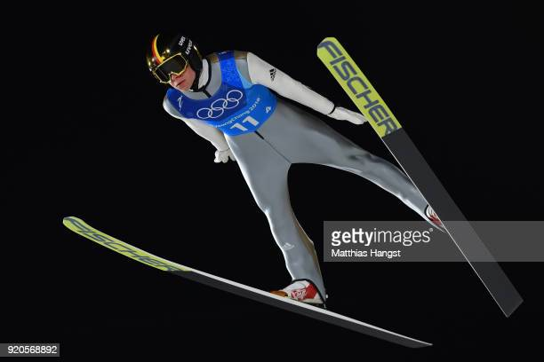 Andreas Wellinger of Germany competes during the Ski Jumping Men's Team Large Hill on day 10 of the PyeongChang 2018 Winter Olympic Games at Alpensia...