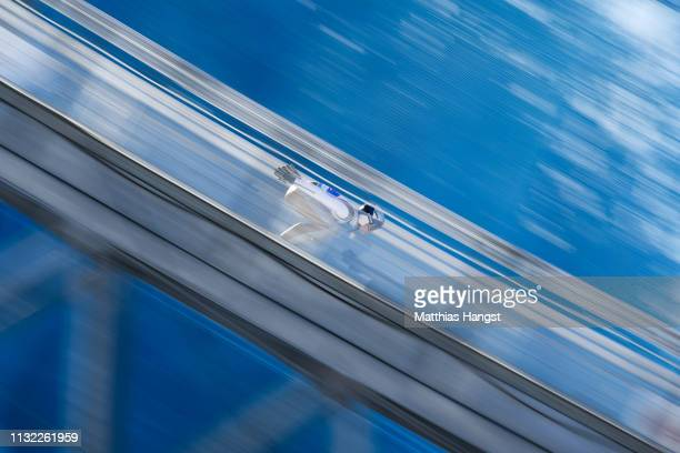 Andreas Wellinger of Germany competes during the training round of the HS109 men's ski jumping Competition of the FIS Nordic World Ski Championships...