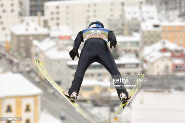 Andreas Wellinger of Germany competes during training for the 67th FIS Nordic World Cup Four Hills Tournament ski jumping event at Bergisl Schanze on...