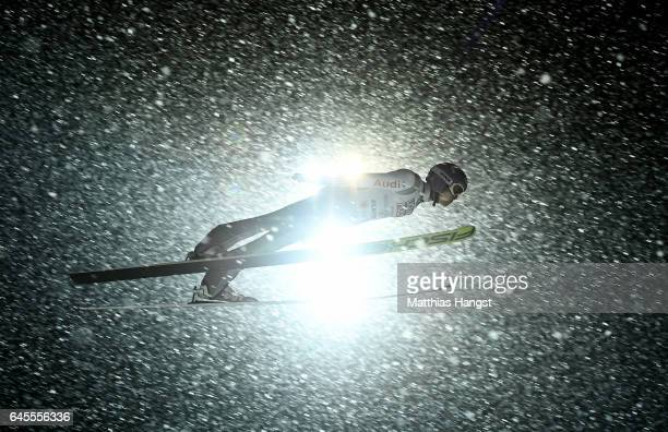 Andreas Wellinger of Germany competes in the Mixed Team HS100 Normal Hill Ski Jumping during the FIS Nordic World Ski Championships on February 26...