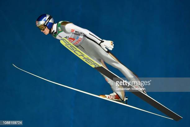 Andreas Wellinger of Germany competes on day 2 of the 67th FIS Nordic World Cup Four Hills Tournament ski jumping event on December 30 2018 in...