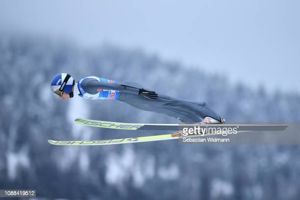 Andreas Wellinger of Germany competes on day 3 of the 67th FIS Nordic World Cup Four Hills Tournament ski jumping event on December 31 2018 in...