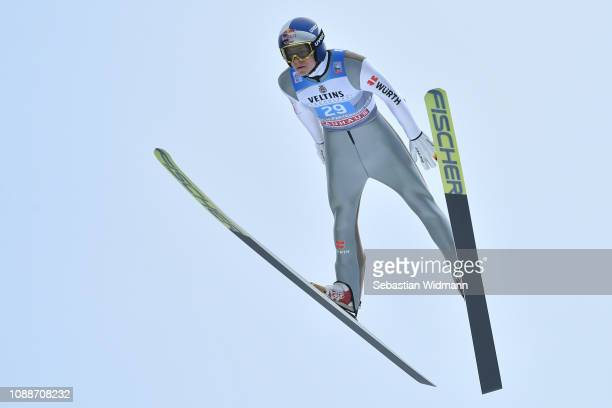 Andreas Wellinger of Germany competes on day 4 of the 67th FIS Nordic World Cup Four Hills Tournament ski jumping event on January 01 2019 in...
