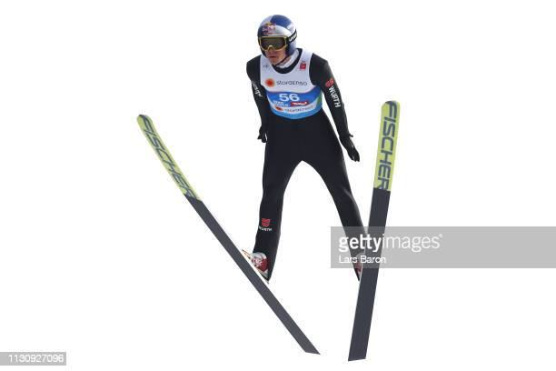Andreas Wellinger of Germany during Ski Jumping training ahead of the Stora Enso FIS World Ski Championships on February 20 2019 in Innsbruck Austria