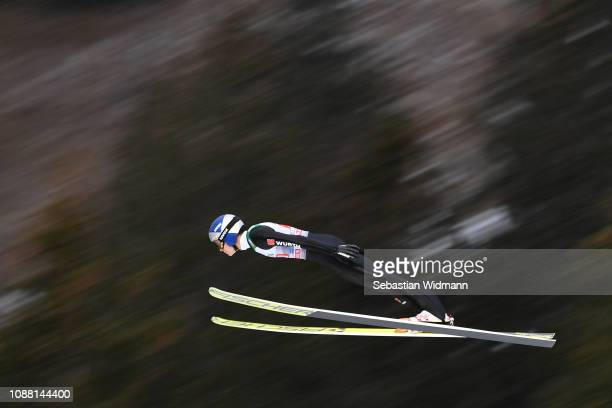 Andreas Wellinger of Germany flies during his practice jump on day 2 of the 67th FIS Nordic World Cup Four Hills Tournament ski jumping event on...