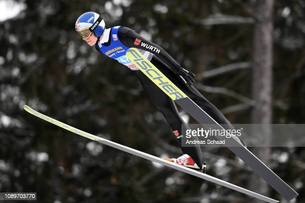 Andreas Wellinger of Germany flies during the practice on day 6 of the 67th FIS Nordic World Cup Four Hills Tournament ski jumping event on January...