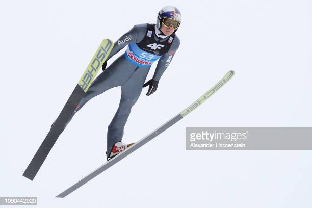 Andreas Wellinger of Germany flies during the trial round on day 8 of the 67th FIS Nordic World Cup Four Hills Tournament ski jumping event at...