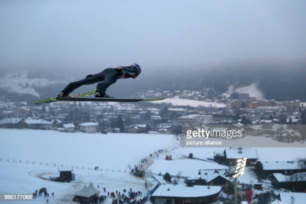 Andreas Wellinger of Germany in action during a practice round at the Four Hills Tournament in Bischofshofen Austria 6 January 2018 Photo Daniel...