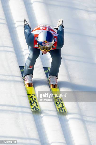Andreas Wellinger of Germany in action during the FIS Ski Jumping World Cup on February 17 2019 in Willingen Germany