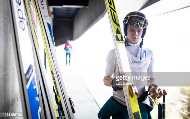 Andreas Wellinger of Germany is seen during the ski jumping training of the FIS Nordic World Ski Championships on February 21 2019 in Innsbruck...