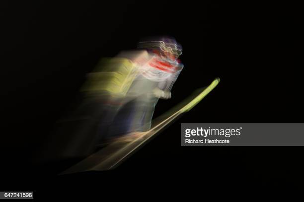 Andreas Wellinger of Germany jumps during the Men's Ski Jumping HS130 at the FIS Nordic World Ski Championships on March 2 2017 in Lahti Finland