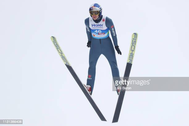 Andreas Wellinger of Germany jumps during the qualification round of the HS130 men's ski jumping Competition of the FIS Nordic World Ski...