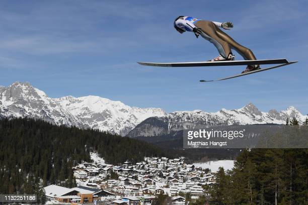 Andreas Wellinger of Germany jumps during the training round of the HS109 men's ski jumping Competition of the FIS Nordic World Ski Championships at...