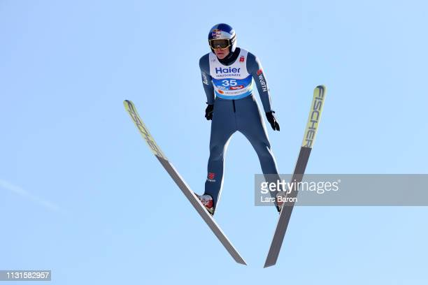 Andreas Wellinger of Germany jumps in the trial round during the Ski Jumping Large Hill HS130 at Bergisel Schanze on February 23 2019 in Innsbruck...